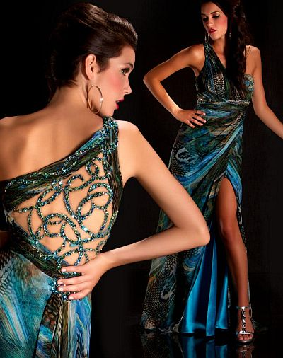 Cassandra Stone by MacDuggal Peacock Print Prom Dress 6232A ...