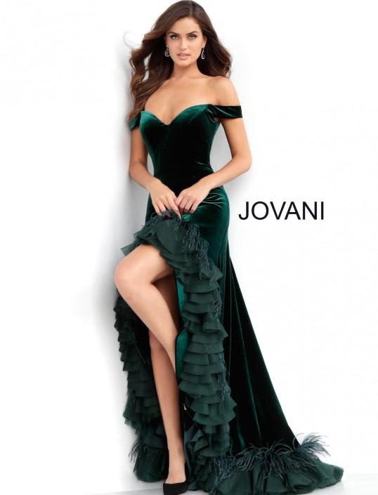 33399108d55 Jovani 62379 Off Shoulder Ruffle Velvet Prom Gown  French Novelty
