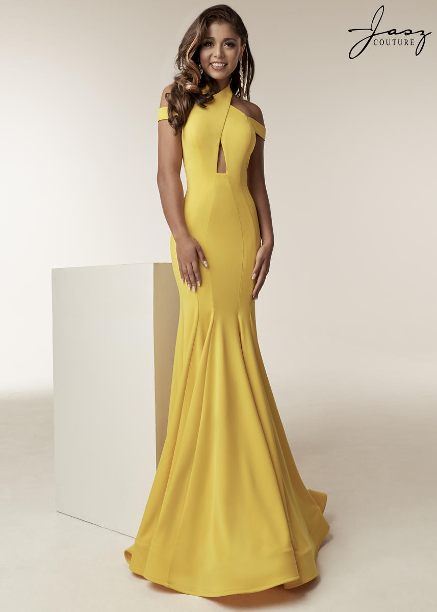 Size 4 Yellow Jasz Couture 6238 Keyhole Off Shoulder