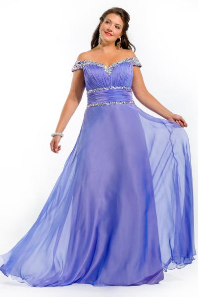Party Time 6238 Plus Size Off the Shoulder Beaded Gown: French Novelty