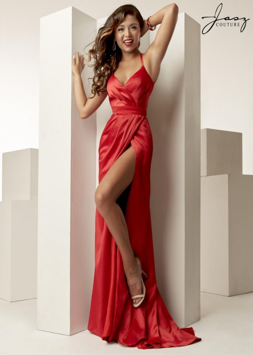 Jasz Couture 6261 Draped High Slit Prom Gown: French Novelty