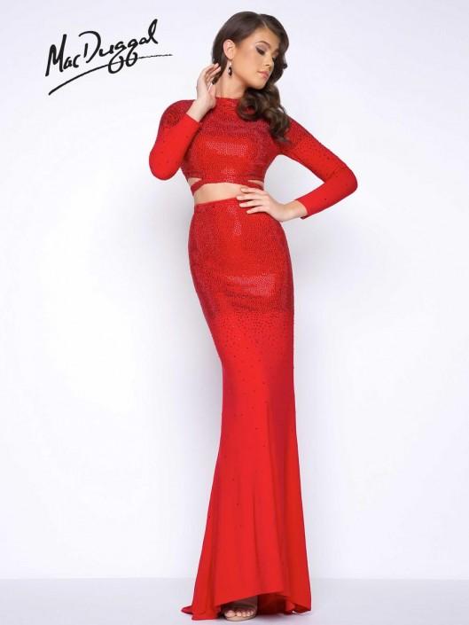 b4bebcfa84f Mac Duggal 62701M Long Sleeve 2pc Prom Gown: French Novelty