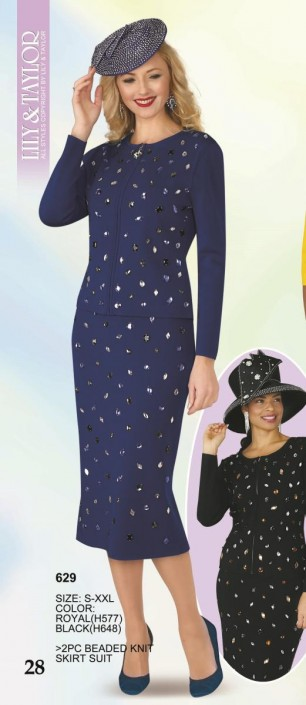 a9db73feafb Lily and Taylor 629 Ladies Beaded Knit Church Suit  French Novelty
