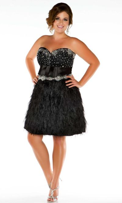 Fabulouss 6303F by MacDuggal Plus Size Feather Gown