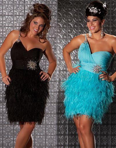 MacDuggal Fabulouss Short Plus Size Prom Dress with Feathers 6304F