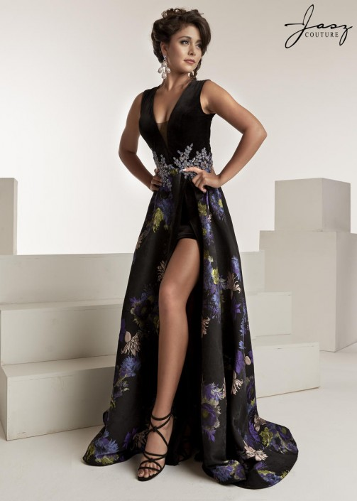 Jasz Couture 6308 High Slit Prom Gown: French Novelty