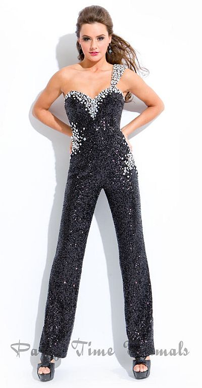 Party Time One Shoulder Sequin Jumpsuit 6315 French Novelty
