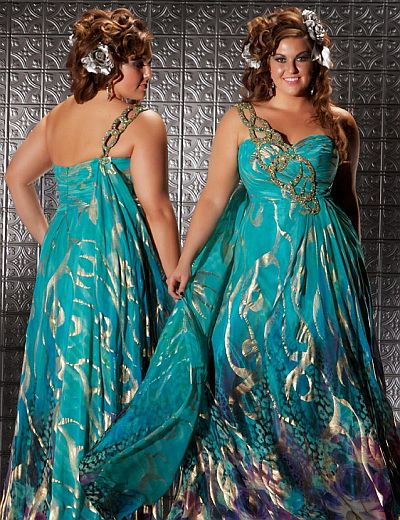 Fabulouss Teal Print Plus Size Prom Dress By Macduggal 6323f French