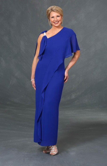 Ursula 63314 One Draped Sleeve Plus Size MOB Gown
