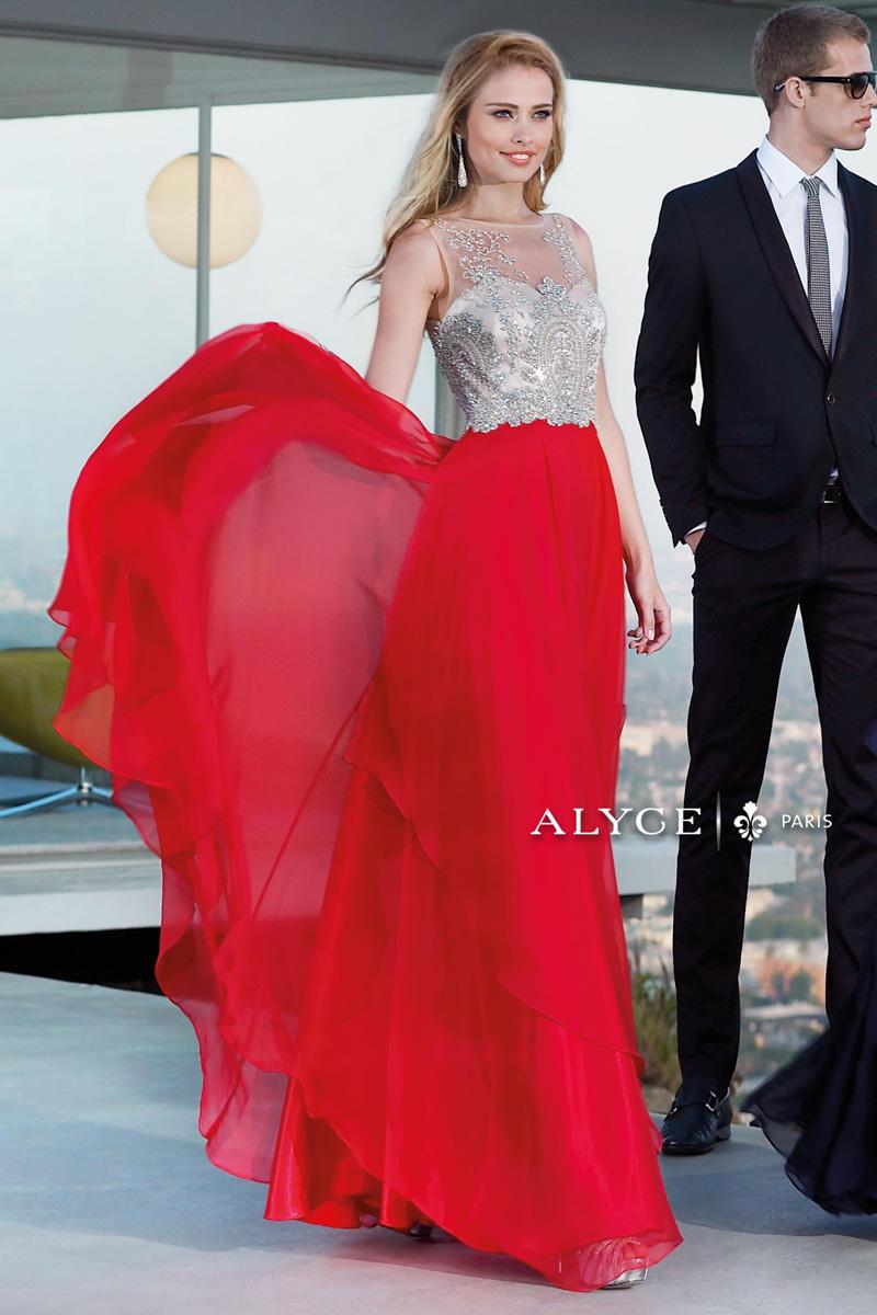alyce paris flowy chiffon evening dress