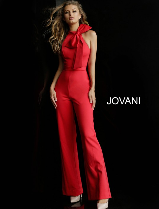 3c43f5aaed4 Jovani 63523 High Neck Prom Jumpsuit with Bow  French Novelty
