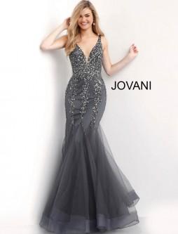 b2961375080 Jovani 63700 Embellished V Neck Mermaid Prom Gown