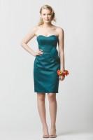 Size 12 Teal Wtoo 639 Crystal Satin Short Bridesmaid Dress image