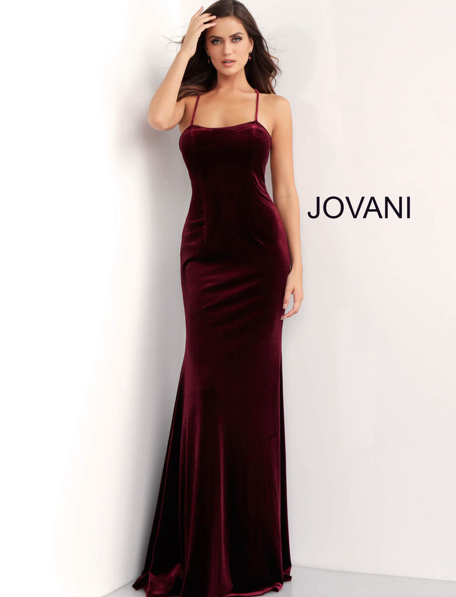 Jovani 63942 Tie Back Velvet Prom Gown French Novelty