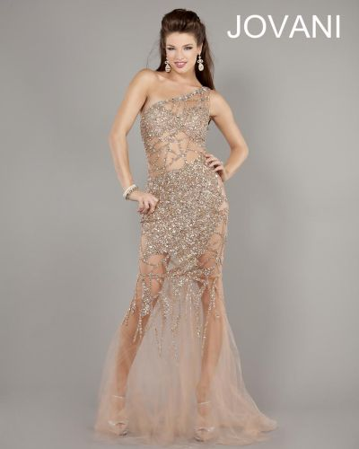 Jovani 6395 Sexy One Shoulder Illusion Gown French Novelty