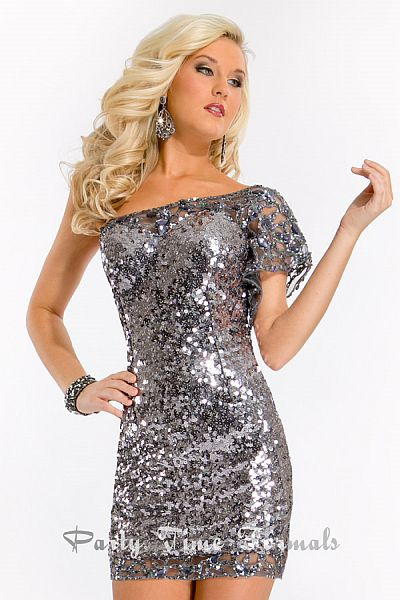 Party Time One Sleeve Sequin Homecoming Dress 6397: French Novelty