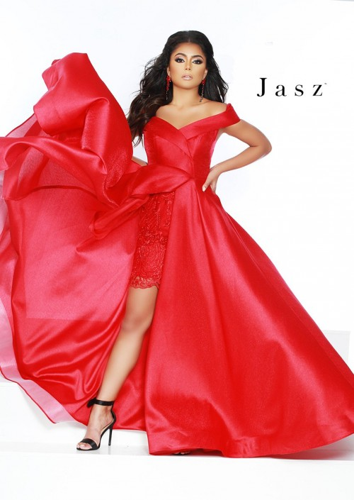 4923a308b3 Jasz Couture 6409 Off Shoulder Gown with Peekaboo Lace  French Novelty