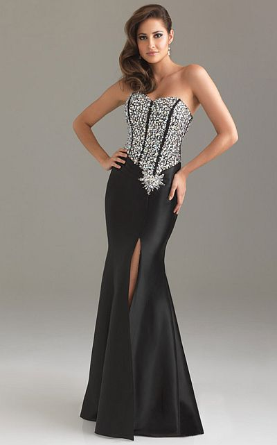 22c4bac5a9e Night Moves Sleek Prom Dress with Lace-Up Back 6419  French Novelty