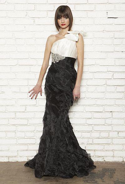 Nicole Bakti Black And White Evening Dress 6422 French Novelty