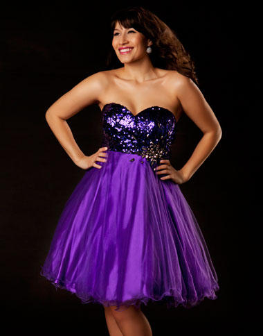 Mac Duggal Purple Plus Size Short Homecoming Dress 64266F: French ...