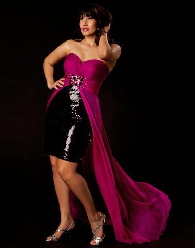 Mac Duggal Plus Size Magenta and Black High Low Evening Dress ...