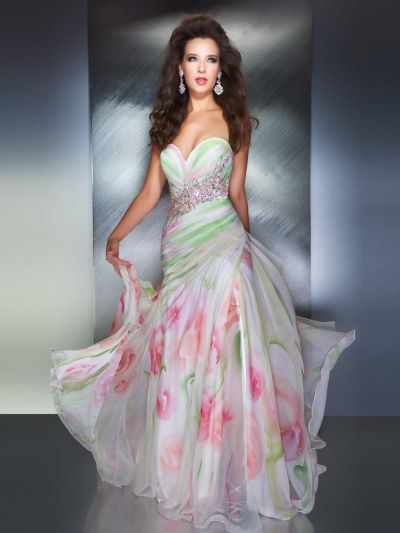 MacDuggal 64292M Dress with Subdued Floral Print: French Novelty
