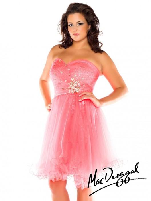 Mac Duggal Fabulouss 64482F Plus Size Short Party Dress: French Novelty