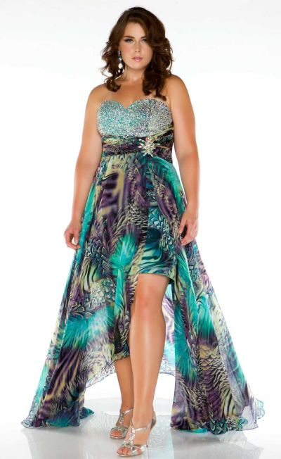 051a884af99dc Fabulouss 64487F Animal Print Plus Size High Low Dress  French Novelty