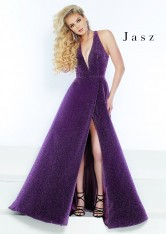 897234816d4 Size 0 Electric Purple Jasz Couture 6451 Shimmering V Neck Prom Gown