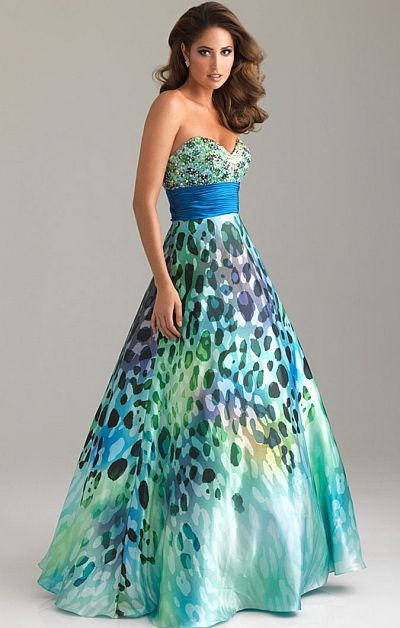 Night Moves Colorful Wild Animal Print Prom Dress 6455: French Novelty