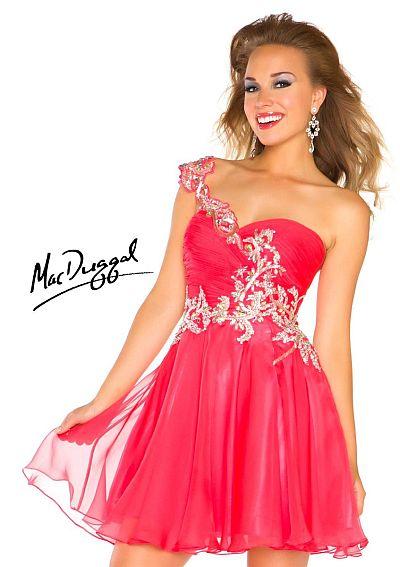 a2c597cfd97 Mac Duggal One Shoulder Short Homecoming Dress 64589N  French Novelty