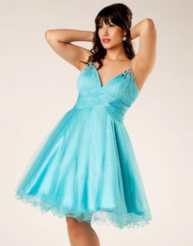 Mac Duggal Plus Size Aqua Short Homecoming Dress 6466F: French Novelty