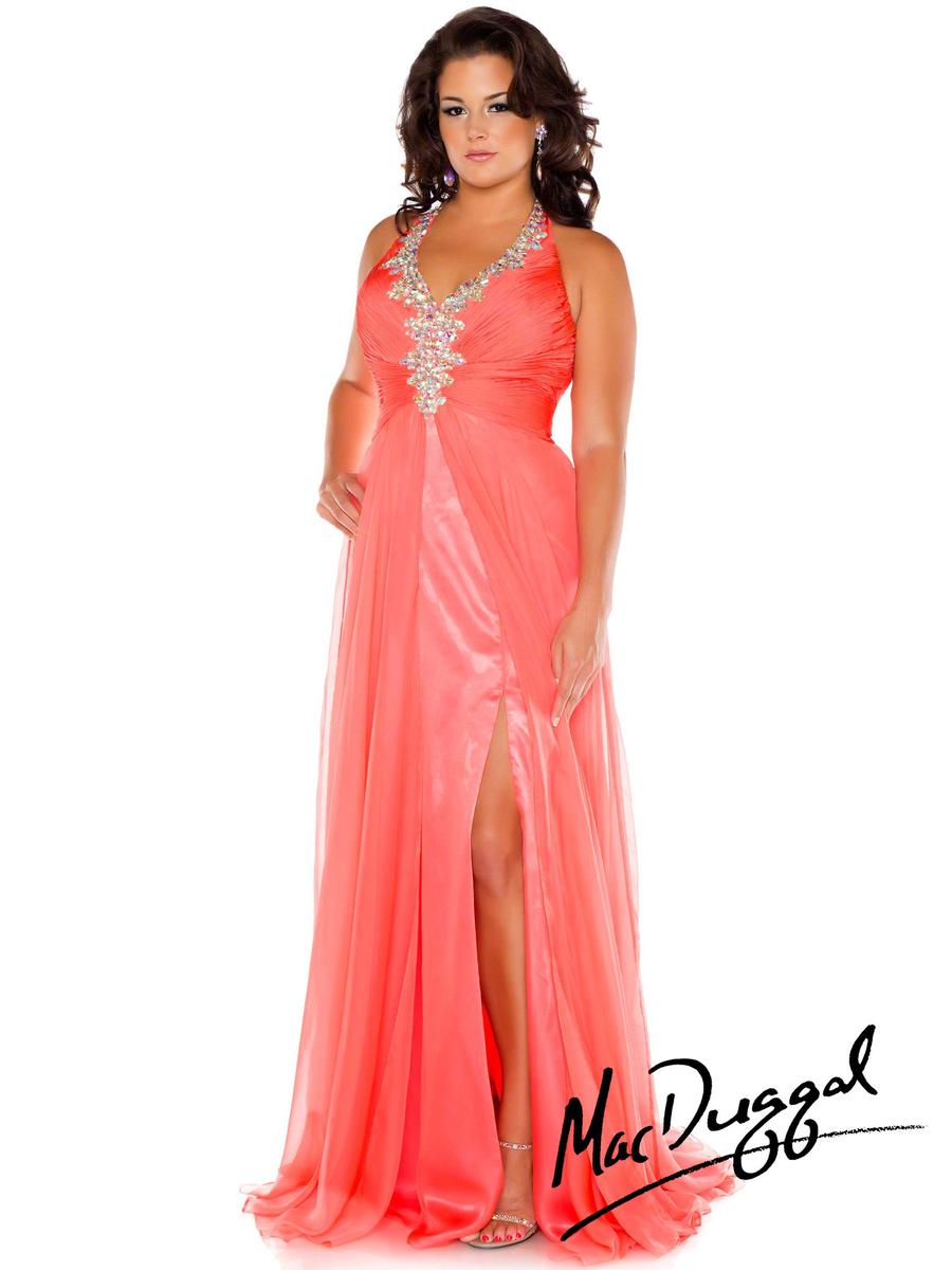 Mac Duggal Fabulouss 64760F Plus Size Halter Evening Dress: French ...