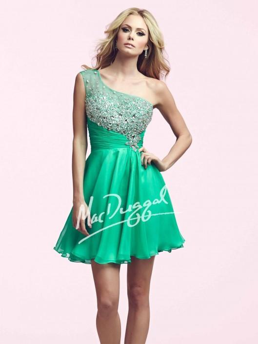 2c0652bba30 Mac Duggal 64900N Short One Shoulder Sparkling Dress  French Novelty
