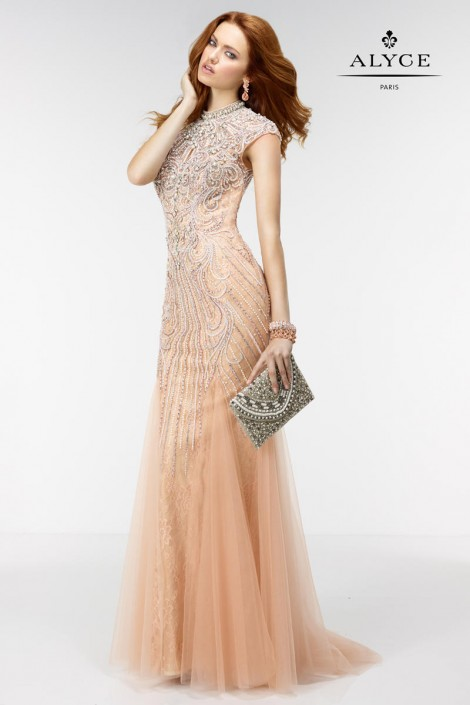 Alyce Paris 6503 Pearl Evening Gown: French Novelty