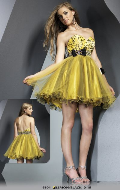 1f433fe6e0c5 black and yellow dress on Riva Designs Yellow And Black Tulle Short Prom  Party Dress 6504