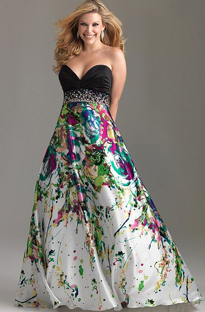 Night Moves Plus Sized Strapless Print Prom Dress 6512W: French ...