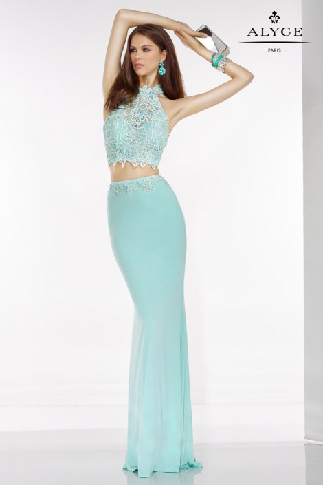 Alyce Paris 6520 Lace Halter 2pc Long Prom Dress: French Novelty