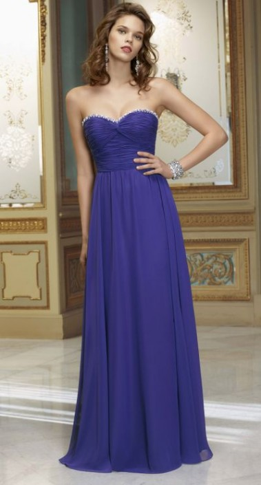 Mori Lee 653 Strapless Chiffon Long Bridesmaids Dresses With Beading