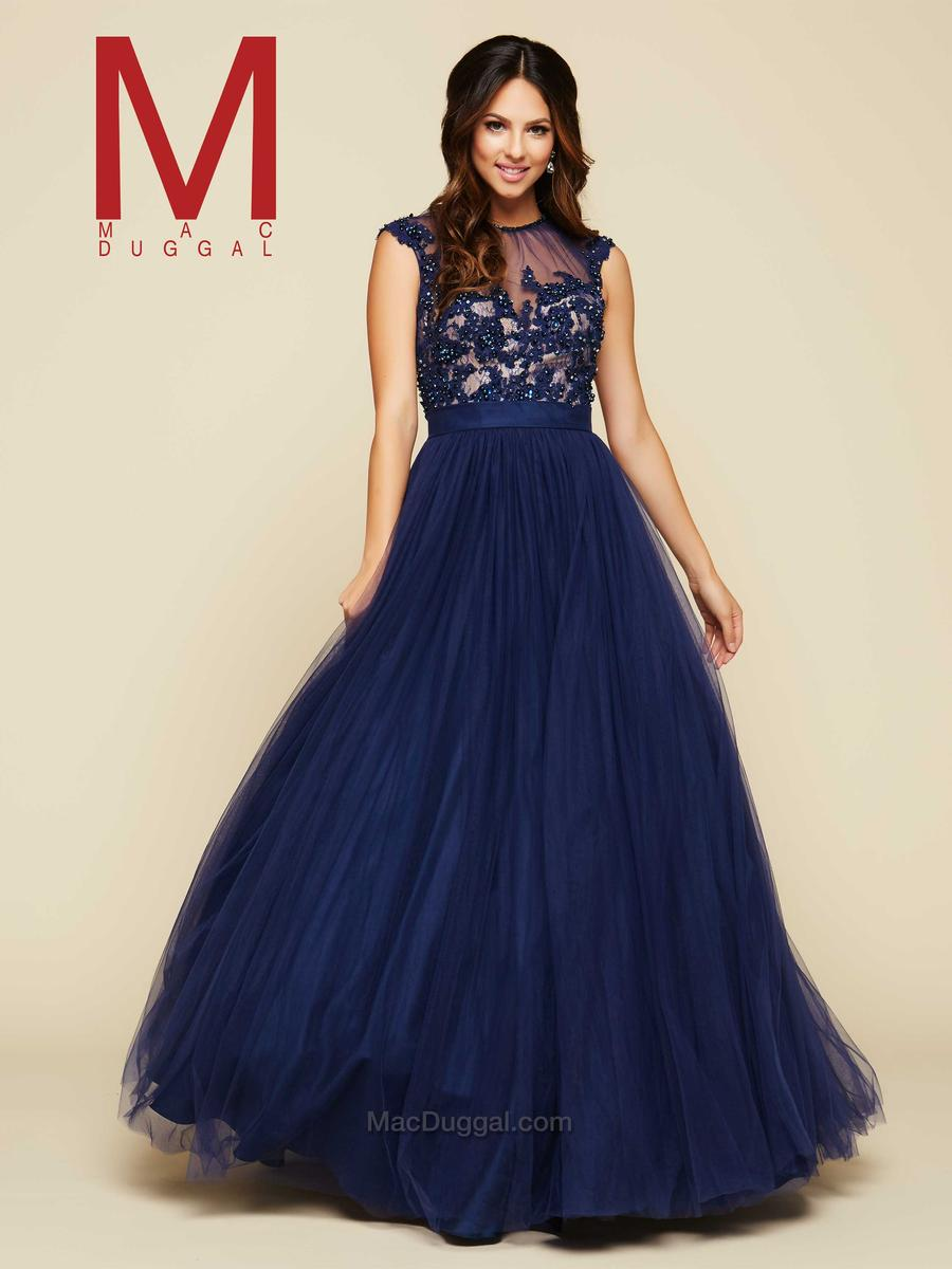 Mac Duggal 65350H Sheer Bodice Ball Gown: French Novelty