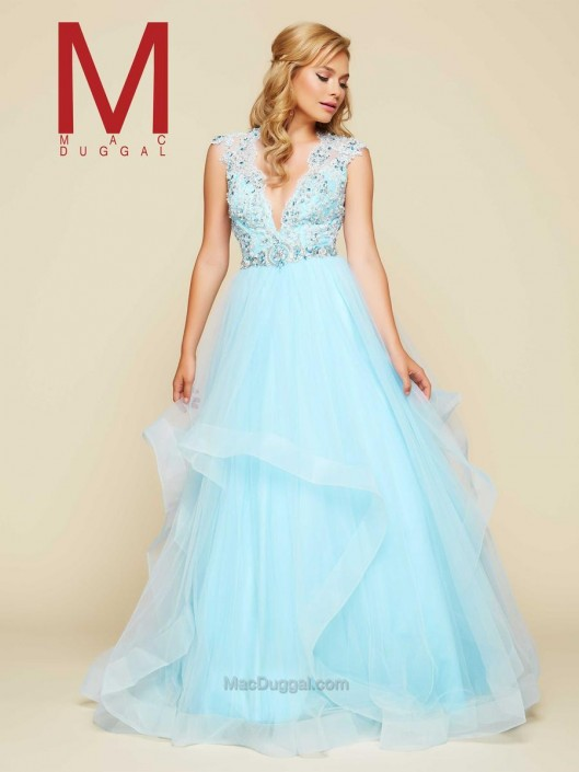 Mac Duggal 65362H Layered Flowing Ball Gown: French Novelty