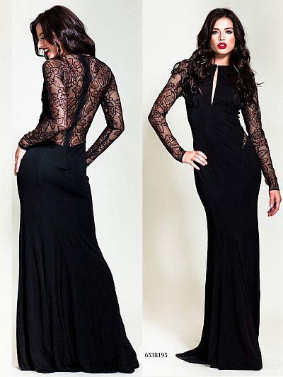 Nicole Bakti Illusion Long Sleeve Gown 6538 French Novelty