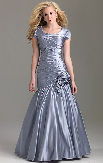 Night Moves Modest Cap Sleeve Lace-Up Back Prom Dress 6584M ...