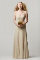 Size 12 Sand-Latte Wtoo 658I Sleeveless V Neck Bridesmaid Gown image