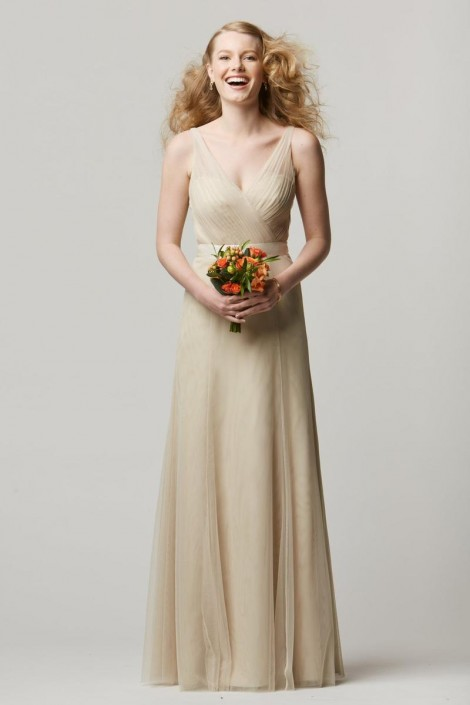 Size 12 Sand-Latte Wtoo 658I Sleeveless V Neck Bridesmaid Gown ...