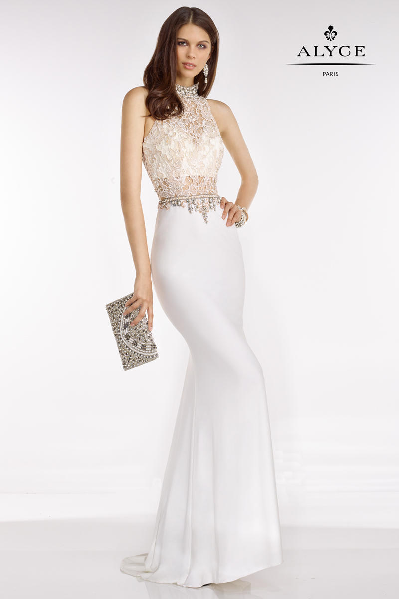 Alyce Paris 6590 Jersey Gown With Lace Bodice French Novelty