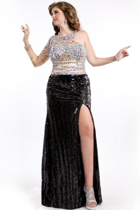 Party Time 6598 Plus Size One Long Sleeve Sequin Gown French Novelty