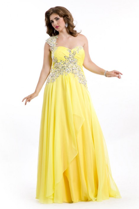 Party Time 6608 Plus Size One Shoulder Gown French Novelty