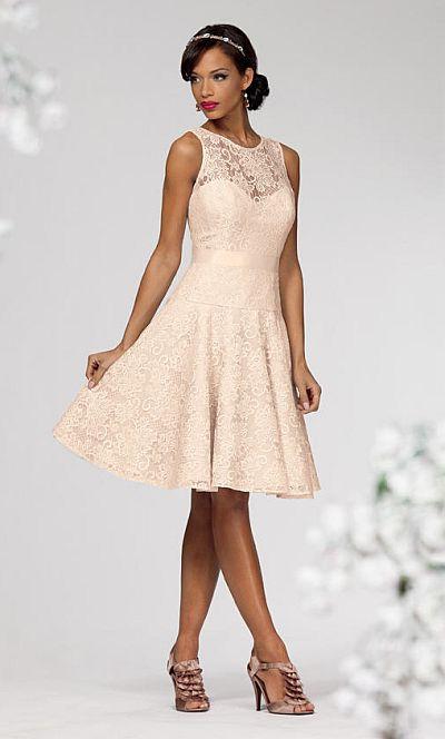 Jordan 661 Short Lace Bridesmaid Dress