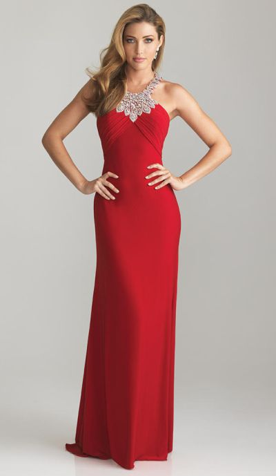 Night Moves 6619 Jeweled Collar Neckline Jersey Evening Gown French